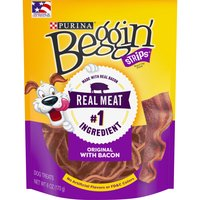 Reward your dog with the mouthwatering taste of real bacon in these Purina Beggin' Strips Bacon Flavor adult dog treats. This savory, meaty treat is made without any artificial flavors.