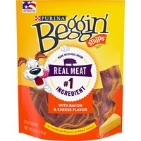 Treat your dog to real meat as the #1 ingredient in these Purina Beggin' Strips Bacon & Cheese Flavors adult dog treats. Tear each strip into smaller pieces as a meaty training reward.