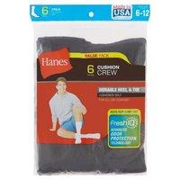Hanes Men's Crew Black Socks, 6 Each