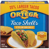 12 Taco Shells Freshness Pack. Gluten Free. 0g Trans Fat. Cholesterol Free.