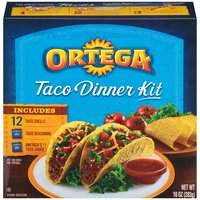 Just Add Meat and Toppings.. Includes: 12 taco shells, taco seasoning, taco sauce.