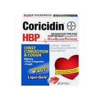 Coricidin HBP Chest Congestion & Cough Cold Relief Softgels, 20 Each