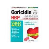 Coricidin HBP Cold & Flu Cold Relief Tablets, 20 Each