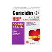Coricidin HBP Cough & Cold Symptom Relief Tablets, 16 Each