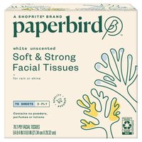 Paperbird White Unscented Soft & Strong Facial Tissues, 70 sheets