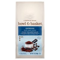 "Bowl & Basket™ Coffee starts its journey in the best growing regions across the world, using only 100% Arabica coffee beans known for their complex, rich flavor & smooth finish. Our darkest roast is ground extra fine to achieve a ""true espresso"" experience. Strong aroma & subtle flavors of chocolate (12 oz)"