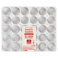 Bowl & Basket Fresh White Eggs, Large, 30 count, 60 oz