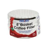 8-12 Cup. 8 inch. 100% biodegradable. Fits most 8-12 cup basket style coffeemakers. White. Lint free.