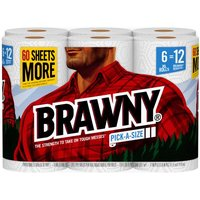 720 sheets. Brawny Pick-A-Size 2-ply half sheet premium paper towels are just the right size foryour everyday tasks.