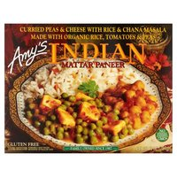 Single serving vegetarian frozen entree. Curried peas and cheese with rice and chana masala. Made with organic tomatoes, peas and rice. Soy free. Tree nut free. No gluten ingredients. Kosher. Non-GMO.