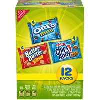 Make your next party or gathering a hit with the Nabisco Cookie Variety Pack. Mix of Mini Chips Ahoy!, Nutter Butter Bites, and Oreo Minis. Each individually sealed pack locks in freshness.