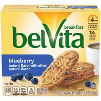 Belvita Blueberry crunchy Breakfast Biscuits are lightly sweet, crunchy biscuits made with high-quality and wholesome ingredients, like rolled oats and real blueberries.