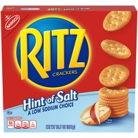 Ritz Crackers are the American classic that's enjoyed around the world. Hint of Salt Ritz Crackers are the same Ritz recipe with only a hint of salt. Sometimes low sodium is just plain delicious.