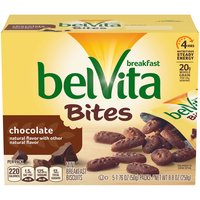 Belvita Chocolate crunchy Breakfast Biscuits are lightly sweet, crunchy biscuits made with high-quality and wholesome ingredients, like whole grain and real chocolate.