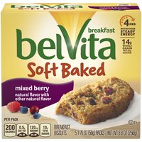 Belvita soft baked mixed berry breakfast biscuits are chewy and oh so delicious. Each wholesome biscuit is made with nutritious whole grains and tasty fruits like blueberries and raspberries.