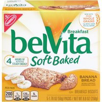 Belvita Soft Baked Banana Bread Breakfast Biscuits are chewy and oh so delicious. Each wholesome biscuit is made with nutritious whole grains and real bananas to help fuel your morning.
