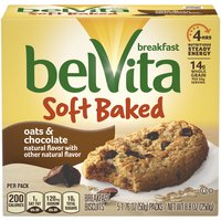 Belvita Soft Baked Oats & Chocolate Breakfast Biscuits are chewy and oh so delicious. Each wholesome biscuit is made with nutritious whole grains and real chocolate.