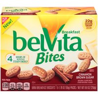 Lightly sweet, and with a taste of cinnamon, crunchy Belvita's Cinnamon Brown Sugar Breakfast Biscuit Bites are packed with quality grains that fuel your morning.