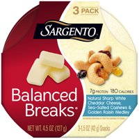 Sargento Balanced Breaks Natural Sharp White Cheddar Cheese Snacks - 3 Pack, 4.5 Ounce