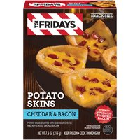 Potato skins stuffed with cheddar cheese and bacon.