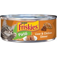 Take care of your cat's nutrition and indulge her cravings with Purina Friskies Classic Pate Liver & Chicken wet cat food. The silky texture of this complete and balanced food tempts even picky cats.