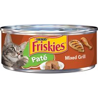 Spoil your feline with the tempting taste of Purina Friskies Classic Pate Mixed Grill wet cat food. It offers essential vitamins and minerals for complete nutrition along with flavors she loves.