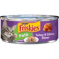 Show your cat you care about her flavor preferences when you serve Purina Friskies Turkey & Giblets Dinner wet cat food. Real turkey is the star of this meal, which provides outstanding nutrition.