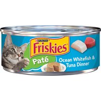 Give your cat a taste of the sea with Purina Friskies Pate Ocean Whitefish & Tuna Dinner wet cat food. Fish flavors keep her coming back for more, and 100% complete nutrition gives you peace of mind.