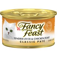 Serve your cat the tender, high-quality liver and chicken pate of Purina Fancy Feast Classic Tender Liver & Chicken Feast wet cat food, and give her the protein she needs for her active lifestyle.