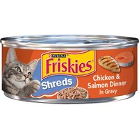 Serve a meal that cats of all ages can enjoy with Purina Friskies Shreds Chicken & Salmon Dinner in Gravy wet cat food. The tasty shreds are tender enough for even kittens and older cats to manage.