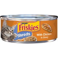 Provide a yummy meal that delivers complete and balanced nutrition for adult cats with Purina Friskies Shreds With Chicken in Gravy wet cat food. Shredded chicken tempts her to eat every bite.