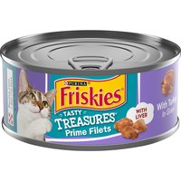 Expand your cat's menu with Purina Friskies Tasty Treasures With Turkey & Cheese in Gravy wet cat food. Tasty ingredients give her a reason to lick her bowl clean while ensuring optimal nutrition.