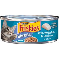 Delight your cat with the mouthwatering tastes she loves when you feed her Purina Friskies Shreds With Whitefish & Sardines in Sauce wet cat food, with 100% complete and balanced nutrition.