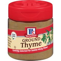 No spice rack should be without a jar of thyme, a versatile herb with a subtle mint flavor that blends well with other herbs and spices. Ground from carefully selected thyme plants, McCormick Ground Thyme adds savory herb flavor to meatloaf, stews and stuffing.