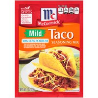 Kids love this milder taco mix now with 30% less sodium! Simply add these McCormick spices to ground beef, spoon into taco shells and layer on your favorite fresh toppings. No artificial flavors or MSG.