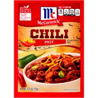 From America's #1 herb and spice brand, McCormick Hot Chili Seasoning Mix adds flavor and a touch of heat to your chili. It's the perfect blend of spices for a hearty, homemade meal on chili night.