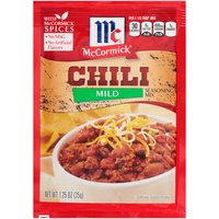 Chili night just got easier, more delicious and kid-friendly! McCormick Mild Chili Seasoning Mix is a mild blend of signature McCormick herbs and spices, including chili pepper, paprika, cumin, onion and garlic.