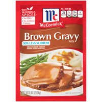 Perfect for holiday and everyday meals, this smooth, hearty gravy is delicious served over roast beef, prime rib, mashed potatoes, stuffing and hot beef sandwiches. Made with McCormick herbs and spices, it contains 30% less sodium than our original brown gravy mix.