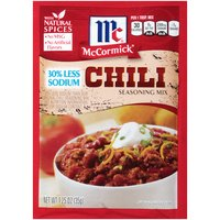 What's McCormick 30% Less Sodium Chili Seasoning Mix all about? Great tasting chili with less sodium! With 30% less sodium and no added MSG or artificial flavors, you can feel good about serving your family the best.