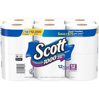 Scott 1000 Bath Tissue toilet paper roll contains 1000 sheets. Plus, Scott 1000 1-ply bathroom tissue dissolves quickly, so it's kinder to your plumbing and safe for sewer and septic systems.