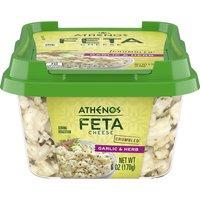 Athenos Feta Cumbled Garlic & Herb, 6 Ounce