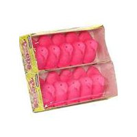Fluffy pink marshmallow candy shaped like baby chickens. 10 count package.