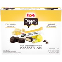 Banana Slices Covered In Dark Chocolate. 6 Packs Of 4 Slices, 100 Calories Per Pack.