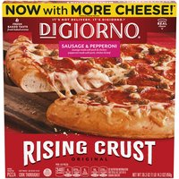12-inch frozen pizza with Italian sausage, pepperoni, vine-ripened tomato sauce and Mozzarella cheese. Softer, chewier self-rising crust. 0 g Trans fat. Preservative free crust. Contains chicken, beef and pork.