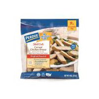 Fully cooked chicken breast strips flavored with natural herbs and spices. Certified gluten free.