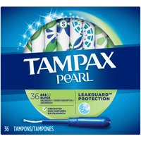 Tampax Pearl Unscented Super Plastic Tampons, 36 Each