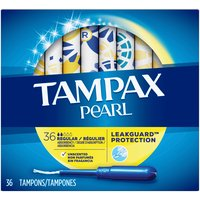 Tampax Pearl Unscented Regular Plastic Tampons, 36 Each