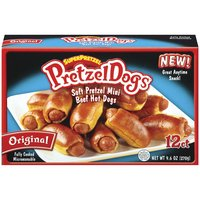 12 Mini Beef Hot Dogs Wrapped in Soft Pretzel Blankets. Fully Cooked. Microwaveable