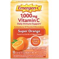 Emergen-C Vitamin C 1000mg Super Orange Drink Mix, 3.2 Ounce