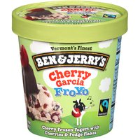 Cherry low fat frozen yogurt with cherries and chocolate fudge flakes.
